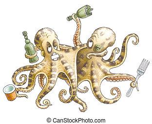 Drunk friends-octopuses - Drunk friends-octopuses left...