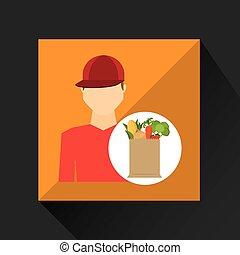 cartoon man red cap with shop bag healthy food vector...