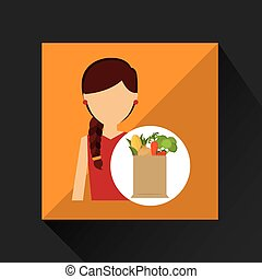 cartoon girl red dress grocery bag vegetables vector...