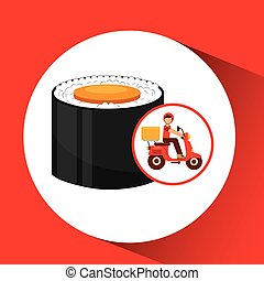 delivery boy ride motorcycle maki sushi