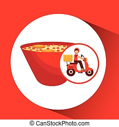 delivery boy ride motorcycle ramen vector illustration eps...