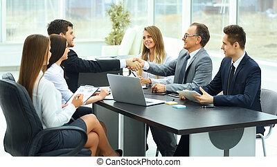合伙人, 現代, 會議, 事務, 辦公室