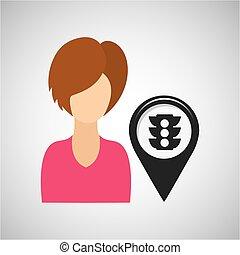light traffic pointer map girl design icon vector...
