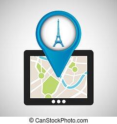 mobile device paris gps map