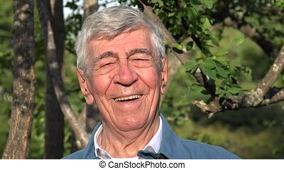 Happy Smiling Elderly Old Man Or Senior