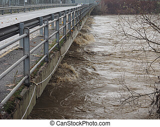 River Po flood in Turin area, Italy