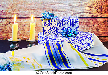 Jewish holiday Sabbath Prayer Shawl Tallit and Shofar horn...