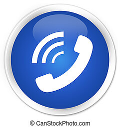 Phone ringing icon blue glossy round button