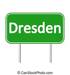 Dresden road sign. - Dresden road sign isolated on white...