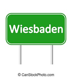 Wiesbaden road sign. - Wiesbaden road sign isolated on white...