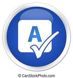 azul, botão, feitiço, redondo, lustroso, cheque, ícone