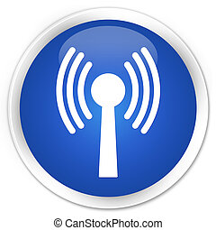 Wlan network icon blue glossy round button