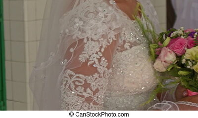 Upper Part of White Lacy Dress on Bride with Bouquet -...