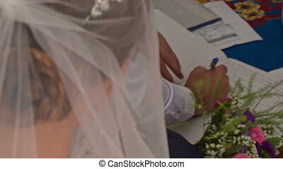 Groom Bride Put Signatures into Register Book on Carpet