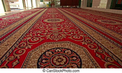 Close View of Rolled out Carpet on Floor of Mosque in Saigon...