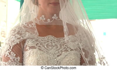 Closeup Caucasian Bride in White Lacy Dress under Veil -...
