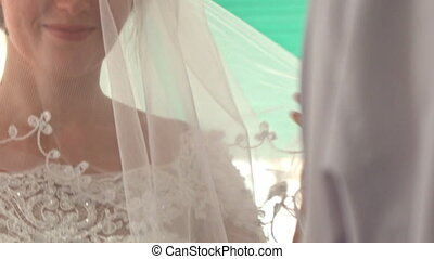 Closeup Caucasian Bride in White Lacy Dress Sets Veil...