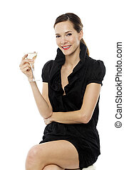 elegant young woman drinking a cocktail on white background...
