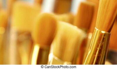 Set of paint brushes close-up. Art studio concept. - Artist...