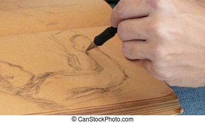 Graphic artist draws sketch picture artwork manual - Graphic...