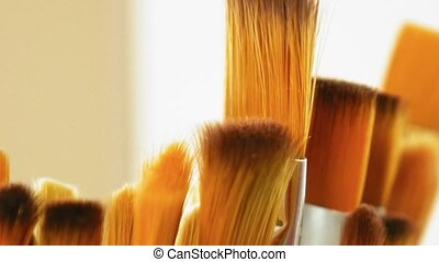 Set of paint brushes close-up. Art studio concept. - Artist...