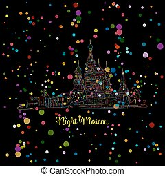 Night winter Moscow, Red Square, sketch for your design....
