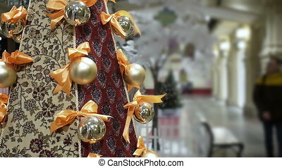 New Year's and Christmas red carpet tree decoration in...