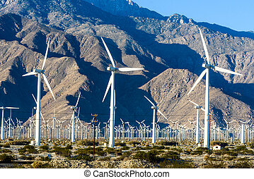 Wind turbines with 3 blades in desert - Turbines near Palm...
