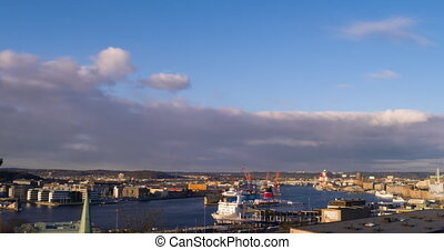 Port of Gothenburg at sunset. Sweden. TimeLapse. UltraHD...