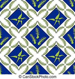 Fern Leaves Seamless Pattern, Vector Illustration
