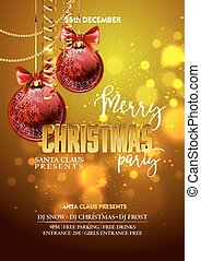 Christmas Party design template with decoration balls.