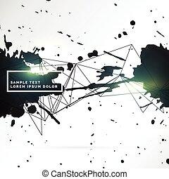grunge style black ink splatter background design