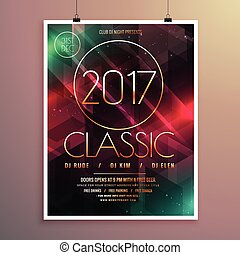 2017 new year party event flyer template with colorful lights background