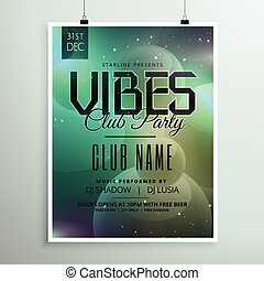 club party music flyer template with invitation event details