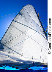 yacht sail mast - Marine Yacht mast with the sail on...