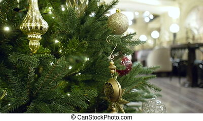 New Year's and Christmas tree decoration in restaurant or...