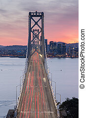 Aerial View of San Francisco-Oakland Bay Bridge at Sunset