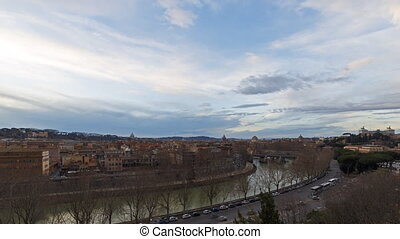 View of the Tiber, Ponte Palatino. SunSet. Rome, Italy. Time...