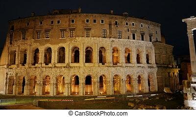 Teatro Di Marcello. Night. Rome, Italy. UltraHD (4K)