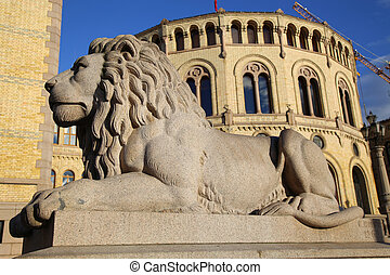 Norwegian parliament Storting Oslo in central Oslo, Norway