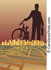 City biker - Vector illustration of a businessman and bike...