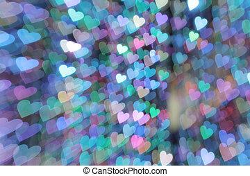 Blurred lights in the form og hearts. - the Blurred lights...