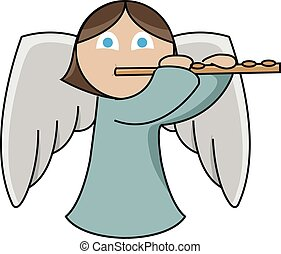 Flute player angel - A cute little angel is playing the...