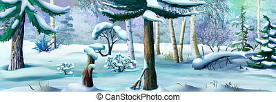 Winter Forest on a Frosty Day. Panorama View. Handmade...