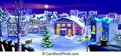 Christmas Eve. Winter Night in a Small Town - Winter Forest...