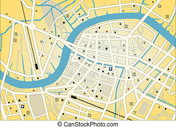 City streetmap - Vector streetmap of a generic city with no...