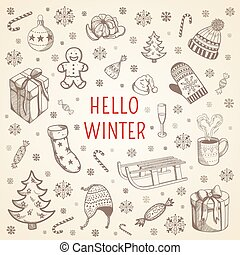 Welcome winter background. - Cute sketch of winter...