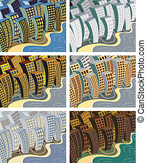 City sway - Set of editable vector illustrations of a city...