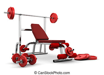 Gym equipment - 3D render of gym equipment