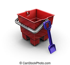 Bucket and spade - 3D render of a bucket and spade